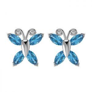 2.80ctw Genuine Sky Blue Topaz Solid 925 Sterling Silver Gemstone Earrings (SJE10001)