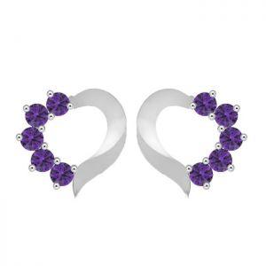 1.50ctw Genuine Amethyst Solid 925 Sterling Silver Gemstone Earrings (SJE10002)