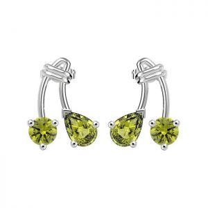 1.70ctw Genuine Peridot Solid 925 Sterling Silver Gemstone Earrings (SJE10004)