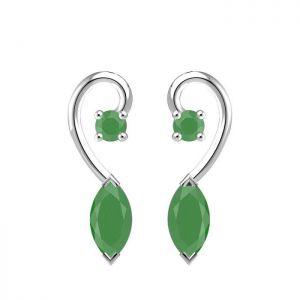 1.00ctw Genuine Emerald Solid 925 Sterling Silver Gemstone Earrings (SJE10006)