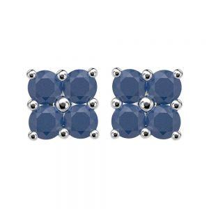 1.20ctw Genuine Sapphire Solid 925 Sterling Silver Gemstone Earrings (SJE10007)