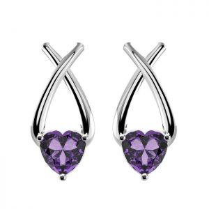 2.00ctw Genuine Amethyst Solid 925 Sterling Silver Gemstone Earrings (SJE10008)