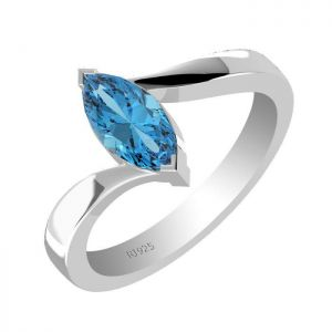 1.25ctw Genuine Swiss Blue Topaz Solid 925 Sterling Silver Gemstone Ring (SJR1003)