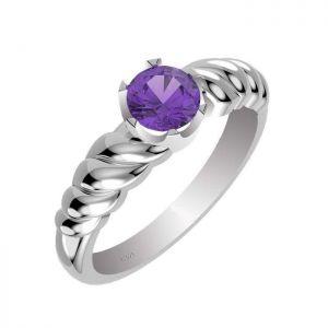 1.00ctw Genuine Amethyst Solid 925 Sterling Silver Gemstone Ring (SJR1006)