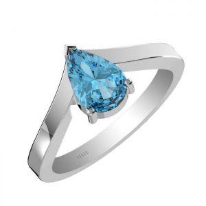 1.45ctw Genuine Swiss Blue Topaz Solid 925 Sterling Silver Gemstone Ring (SJR1010)
