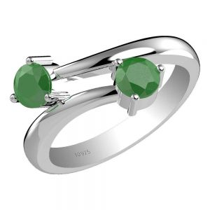 1.20ctw Genuine Emerald Solid 925 Sterling Silver Gemstone Ring (SJR1012)