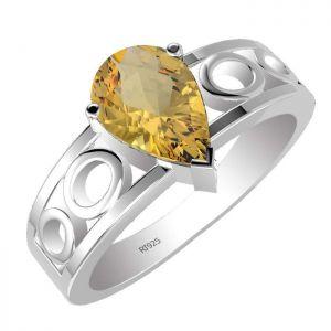 1.45ctw Genuine Citrine Solid 925 Sterling Silver Gemstone Ring (SJR1014)