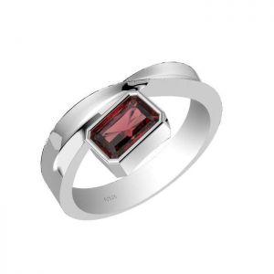 0.80ctw Genuine Garnet Solid 925 Sterling Silver Gemstone Ring (SJR1016)