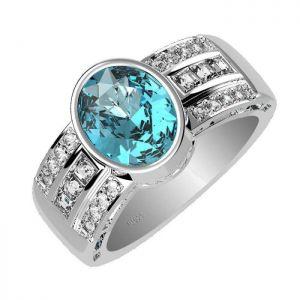 3.25ctw Genuine Swiss Blue Topaz Solid 925 Sterling Silver Gemstone Ring (SJR1018)