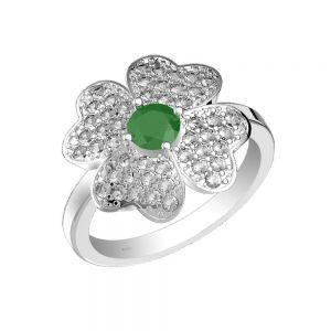 1.00ctw Genuine Emerald Solid 925 Sterling Silver Gemstone Ring (SJR1019)