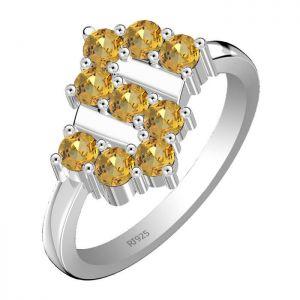 1.35ctw Genuine Citrine Solid 925 Sterling Silver Gemstone Ring (SJR1021)