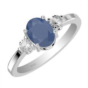 1.40ctw Genuine Sapphire Solid 925 Sterling Silver Gemstone Ring (SJR1028)
