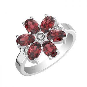 3.30ctw Genuine Garnet Solid 925 Sterling Silver Gemstone Ring (SJR1029)