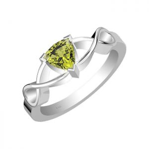 1.00ctw Genuine Peridot Solid 925 Sterling Silver Gemstone Ring (SJR1032)