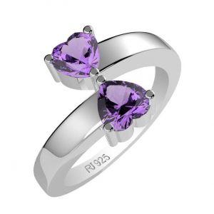 1.20ctw Genuine Amethyst Solid 925 Sterling Silver Gemstone Ring (SJR1033)
