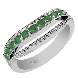 0.40ctw Genuine Emerald Solid 925 Sterling Silver Gemstone Ring (SJR1035)