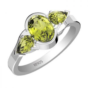 1.80ctw Genuine Peridot Solid 925 Sterling Silver Gemstone Ring (SJR1036)