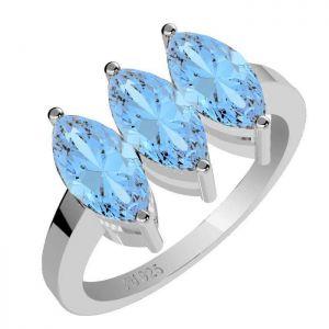 1.95ctw Genuine Sky Blue Topaz Solid 925 Sterling Silver Gemstone Ring (SJR1038)