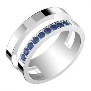 0.50ctw Genuine Sapphire Solid 925 Sterling Silver Gemstone Ring (SJR1039)