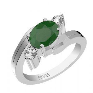 1.70ctw Genuine Emerald Solid 925 Sterling Silver Gemstone Ring (SJR1040)