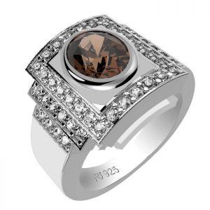 1.40ctw Genuine Smoky Quartz Solid 925 Sterling Silver Gemstone Ring (SJR1041)