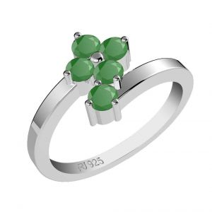 0.75ctw Genuine Emerald Solid 925 Sterling Silver Gemstone Ring (SJR1042)