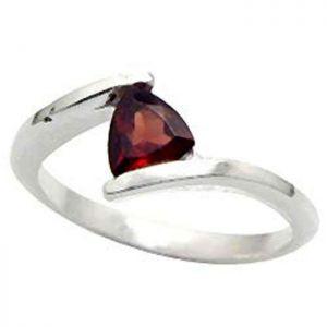 1.00ctw Genuine Garnet Solid 925 Sterling Silver Gemstone Ring (SJR1043)