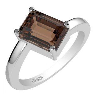 1.70ctw Genuine Smoky Quartz Solid 925 Sterling Silver Gemstone Ring (SJR1044)