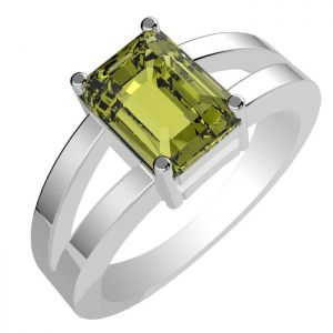 1.70ctw Genuine Peridot Solid 925 Sterling Silver Gemstone Ring (SJR1049)