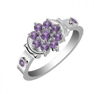 0.70ctw Genuine Amethyst Solid 925 Sterling Silver Gemstone Ring (SJR1051)