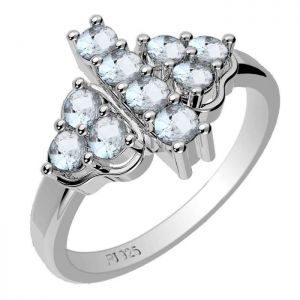1.00ctw Genuine Aquamarine Solid 925 Sterling Silver Gemstone Ring (SJR1053)
