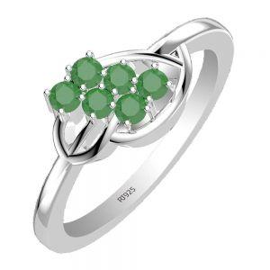0.60ctw Genuine Emerald Solid 925 Sterling Silver Gemstone Ring (SJR1055)
