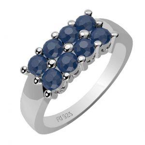 1.20ctw Genuine Sapphire Solid 925 Sterling Silver Gemstone Ring (SJR1056)