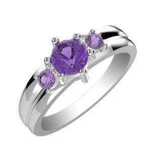 1.20ctw Genuine Amethyst Solid 925 Sterling Silver Gemstone Ring (SJR1058)