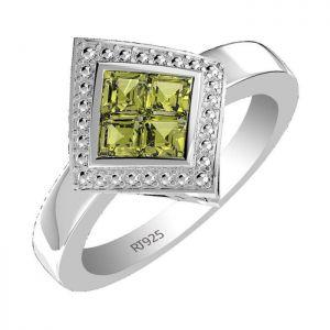 1.00ctw Genuine Peridot Solid 925 Sterling Silver Gemstone Ring (SJR1060)