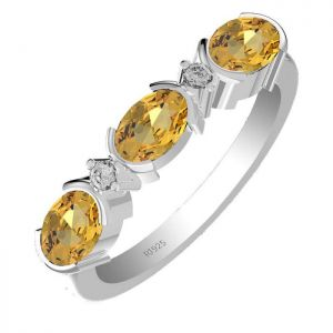 1.65ctw Genuine Citrine Solid 925 Sterling Silver Gemstone Ring (SJR1063)