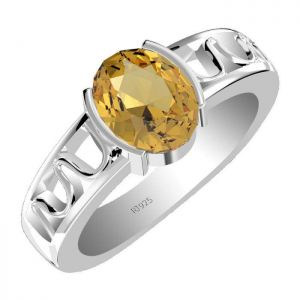 2.15ctw Genuine Citrine Solid 925 Sterling Silver Gemstone Ring (SJR1066)