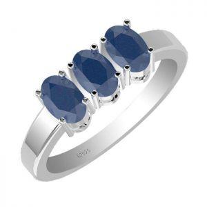 1.65ctw Genuine Sapphire Solid 925 Sterling Silver Gemstone Ring (SJR1069)