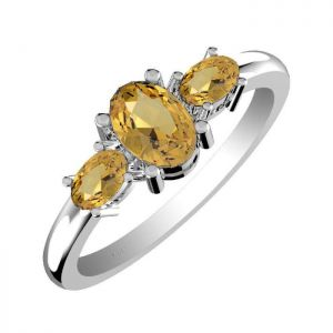 1.60ctw Genuine Citrine Solid 925 Sterling Silver Gemstone Ring (SJR1070)