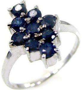 1.35ctw Genuine Sapphire Solid 925 Sterling Silver Gemstone Ring (SJR1074)