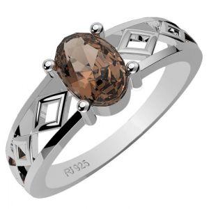 0.90ctw Genuine Smoky Quartz Solid 925 Sterling Silver Gemstone Ring (SJR1075)