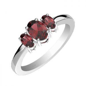 1.60ctw Genuine Garnet Solid 925 Sterling Silver Gemstone Ring (SJR1079)