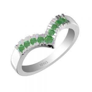0.50ctw Genuine Emerald Solid 925 Sterling Silver Gemstone Ring (SJR1082)