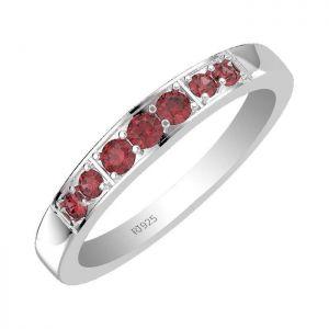 0.25ctw Genuine Garnet Solid 925 Sterling Silver Gemstone Ring (SJR1087)