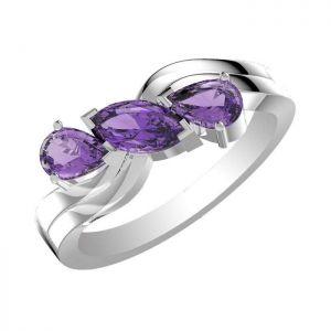 1.55ctw Genuine Amethyst Solid 925 Sterling Silver Gemstone Ring (SJR1088)