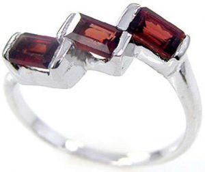 1.20ctw Genuine Garnet Solid 925 Sterling Silver Gemstone Ring (SJR1095)