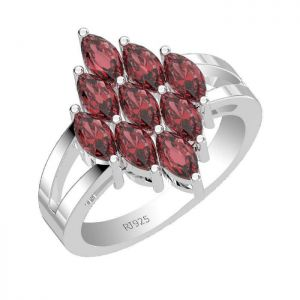 3.15ctw Genuine Garnet Solid 925 Sterling Silver Gemstone Ring (SJR1096)