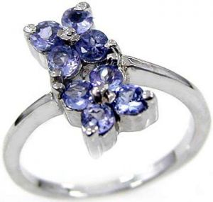 1.20ctw Genuine Tanzanite Solid 925 Sterling Silver Gemstone Ring (SJR1097)