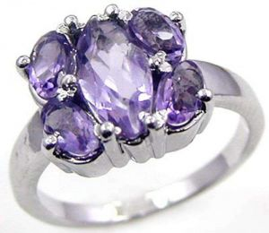 2.65ctw Genuine Amethyst Solid 925 Sterling Silver Gemstone Ring (SJR1099)