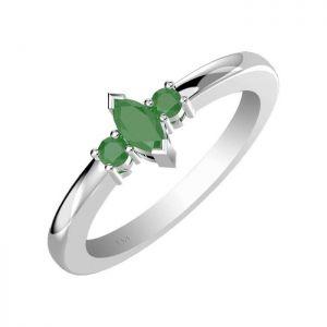 0.55ctw Genuine Emerald Solid 925 Sterling Silver Gemstone Ring (SJR10101)